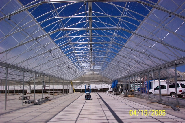 Agra Tech greenhouse with roll-A-roof opening roof system | Ball Tagawa Growers | Arroyo Grande, CA
