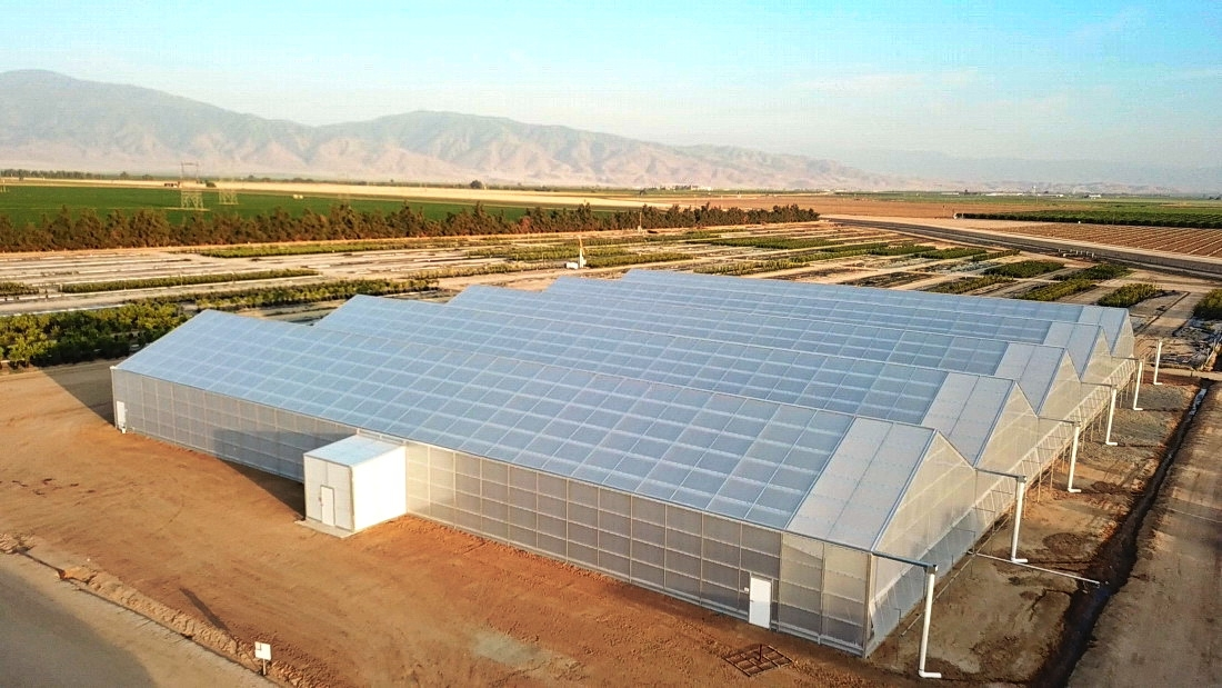 Drone shot of the new range of Agra Tech Solar Light greenhouses